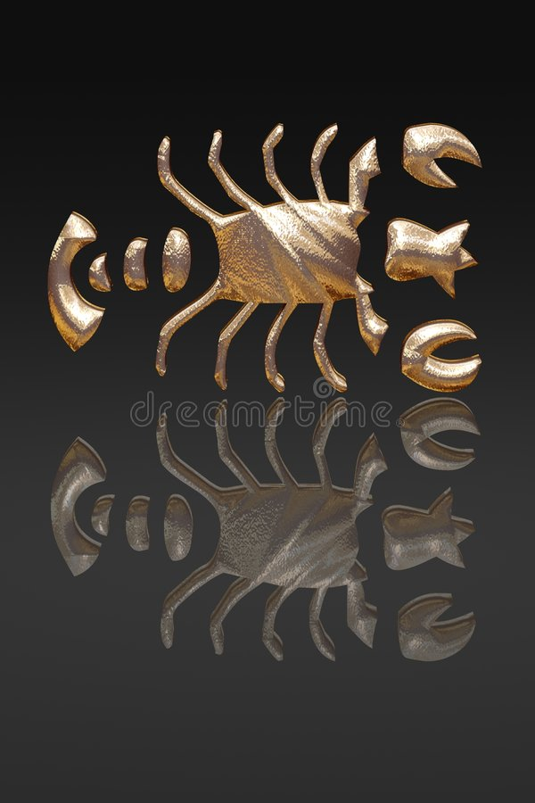 Horoscope - zodiac - gold metal royalty free stock photo