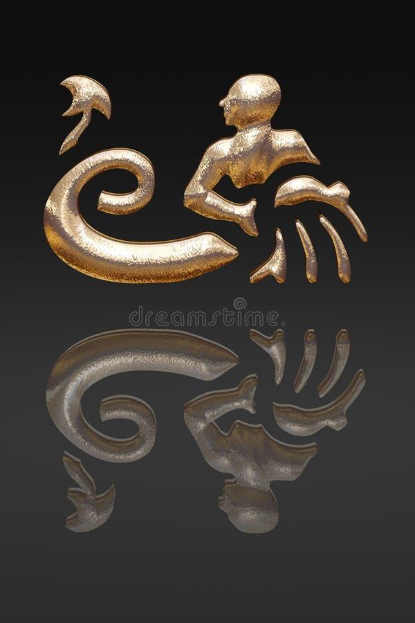 Horoscope - zodiac - gold metal royalty free stock photos