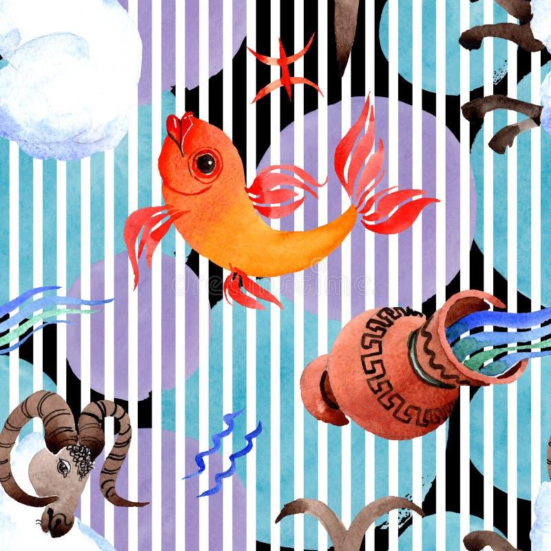 Horoscope zodiac sign, astrology symbol. Watercolor illustration set. Seamless background pattern. stock photo