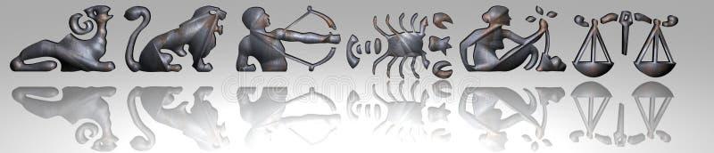 Horoscope - zodiaco - metallo arrugginito royalty illustrazione gratis