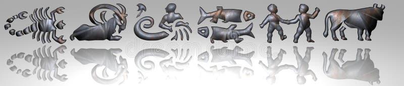 Horoscope - zodiaco - metallo arrugginito illustrazione di stock