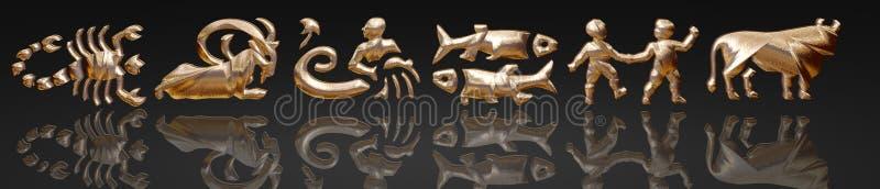 Horoscope - zodiaco - metallo dell'oro royalty illustrazione gratis