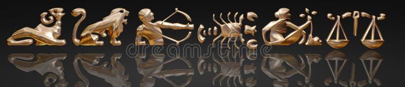 Horoscope - zodiaco - metallo dell'oro illustrazione di stock