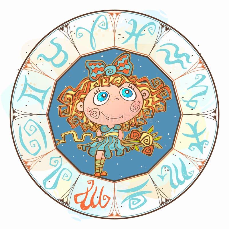 Horoskop dla dziecka szyldowego Virgo w zodiaka okręgu wektor royalty ilustracja
