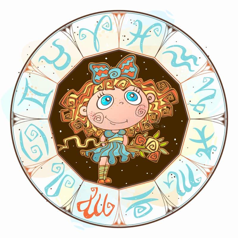 Horoskop dla dziecka szyldowego Virgo w zodiaka okr?gu wektor ilustracja wektor