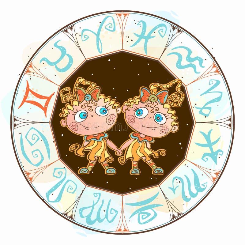 Horoskop dla dziecko szyldowego gemini w zodiaka okr?gu wektor ilustracji