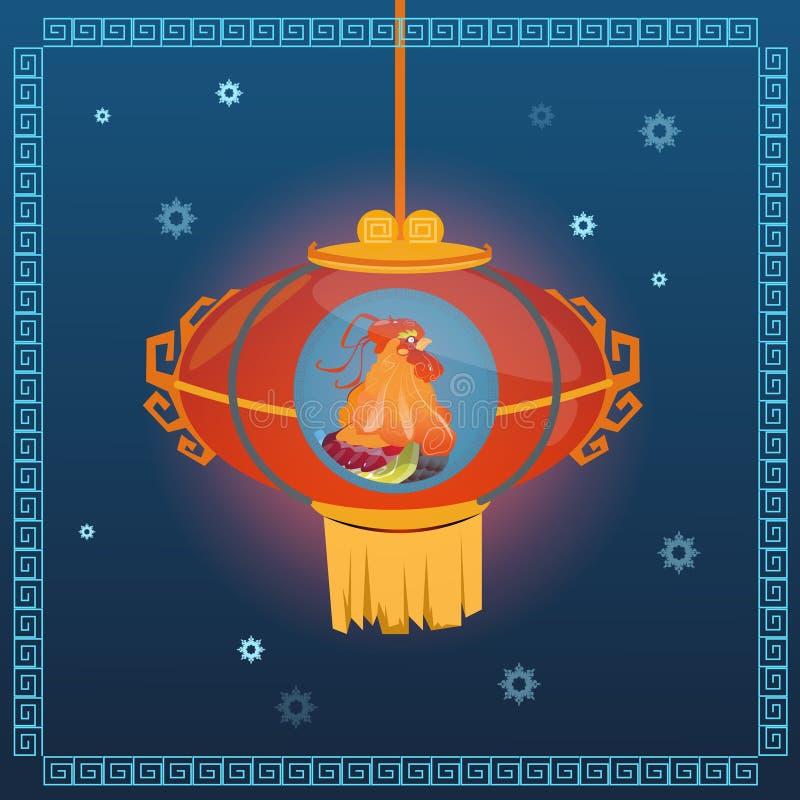 Horoskop för asiat för lykta för lycklig ny 2017 år tuppfågel kinesiskt vektor illustrationer