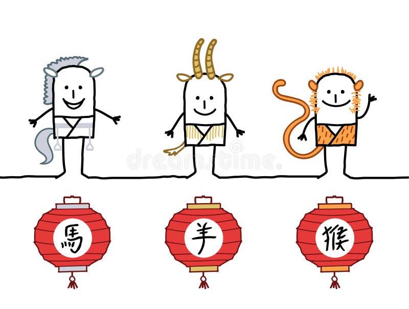 horoskop för kines 3 stock illustrationer