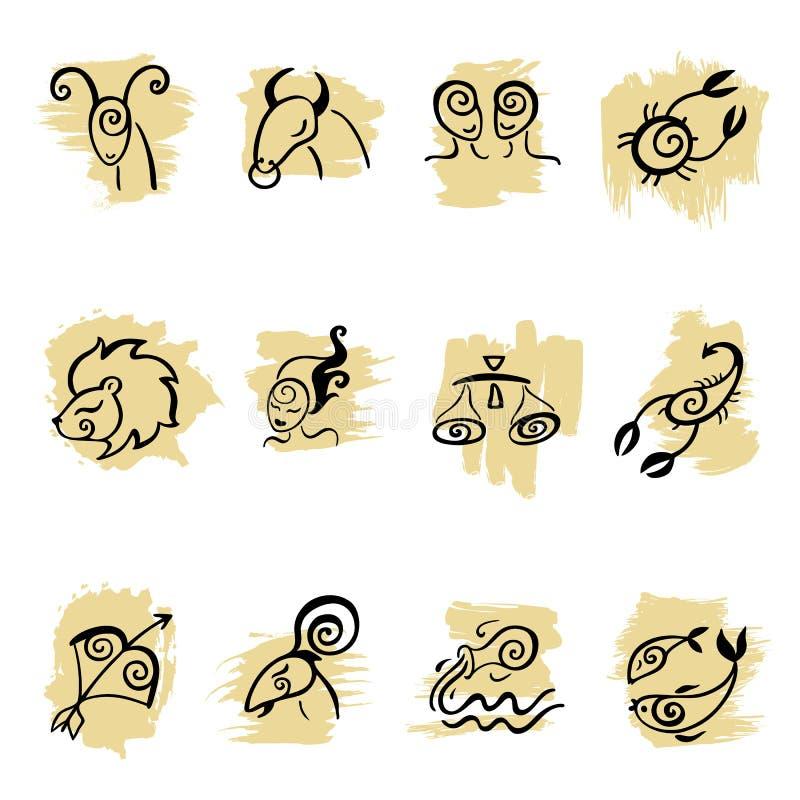 horoskop ustawia zodiaka royalty ilustracja