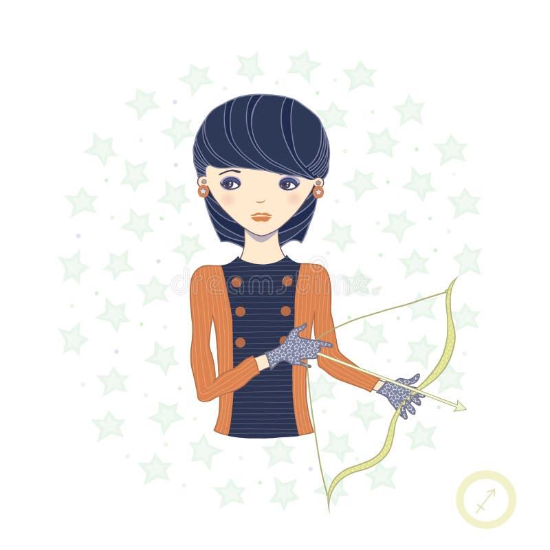 Horoskop. Zodiactecken-Sagittarius. royaltyfri illustrationer