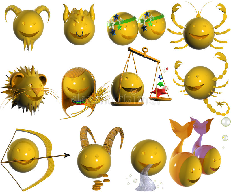 horoskopet för emoticonen 3d gjorde av tecken stock illustrationer