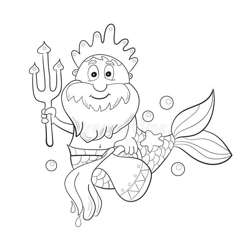 Horoskopsternzeichen - Wassermann Karikatur Poseidon Farbton für Kinder lizenzfreie abbildung