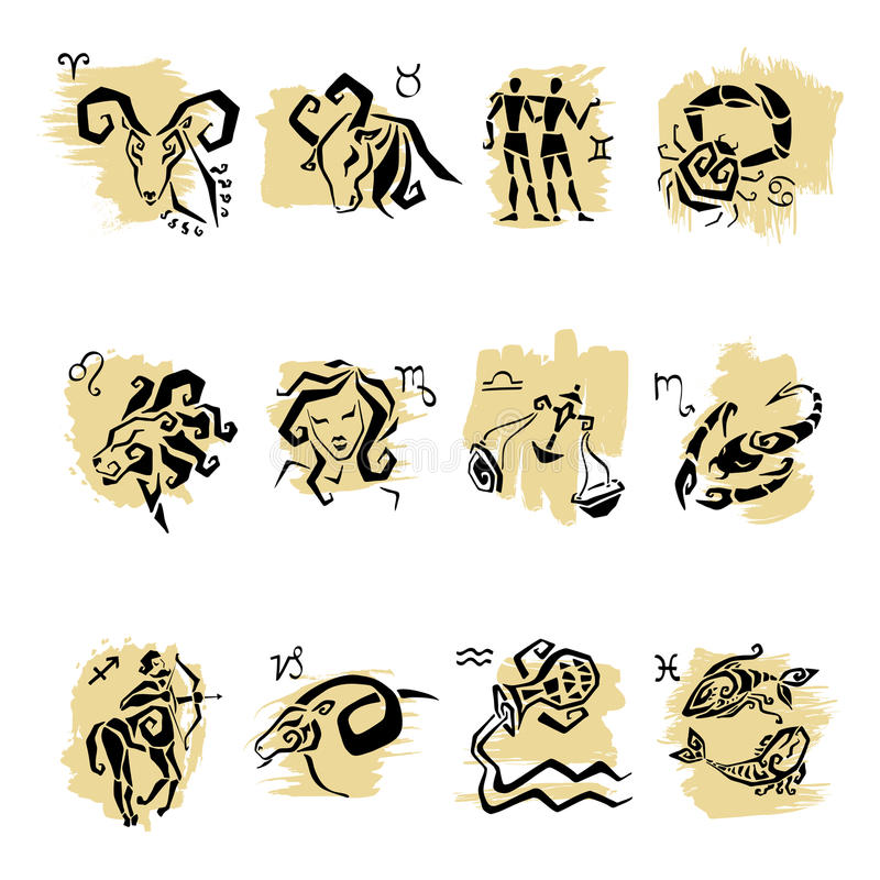 Horoskopu Zodiaka Gwiazdy znaki, set. royalty ilustracja