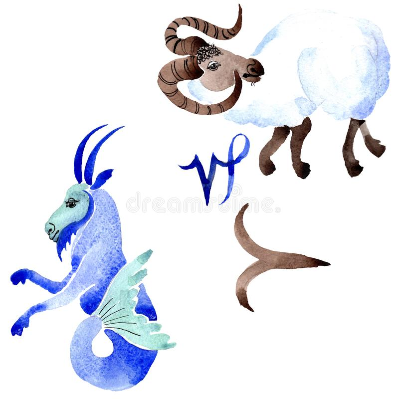 Horoskopzodiaktecken, astrologisymbol set vattenf?rg f?r bakgrundsgrunddesign Isolerad zodiakillustrationbeståndsdel vektor illustrationer