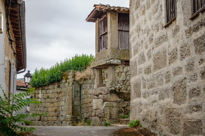 Horreo, typical spanish granary in antique street royalty free stock images