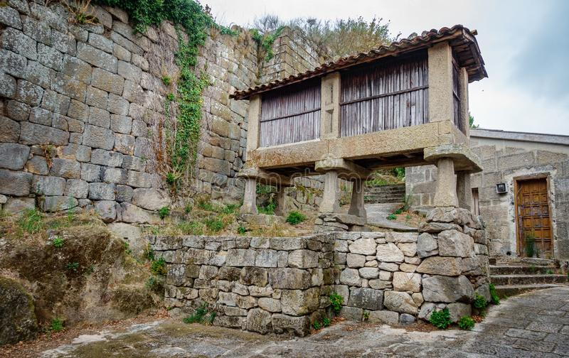 Horreo, typical spanish granary in vintage street stock images