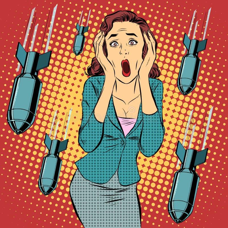 Horreur civile de panique de femme de bombardement de guerre illustration libre de droits