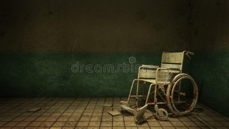 Horreur et manière rampante de promenade et fauteuil roulant devant la salle d'examen dans l'hôpital rendu 3d illustration libre de droits