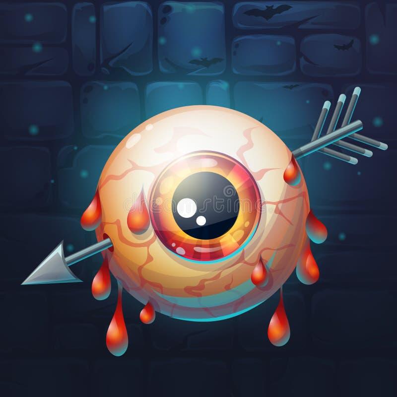 Horrible bloody arrow pierced eyeball. Cartoon funny vector illustration of horrible bloody arrow pierced eyeball stock illustration