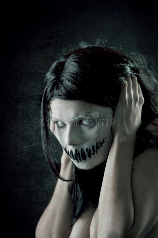 Horrible girl with scary mouth royalty free stock images