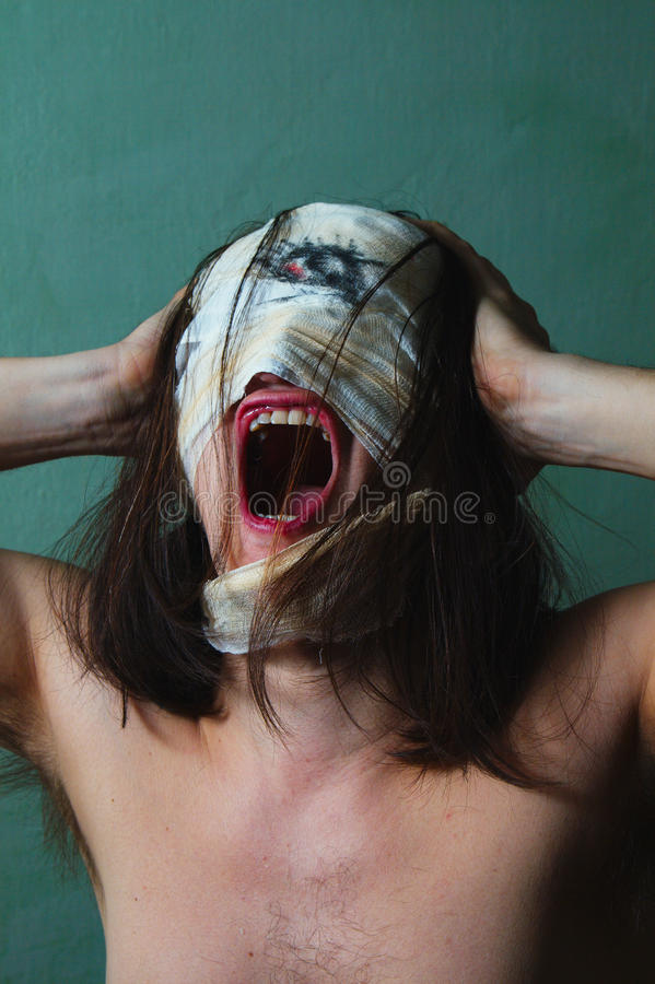 Download Horrible Guy With Scary Face, Schizophrenia Stock Photo - Image: 29822088