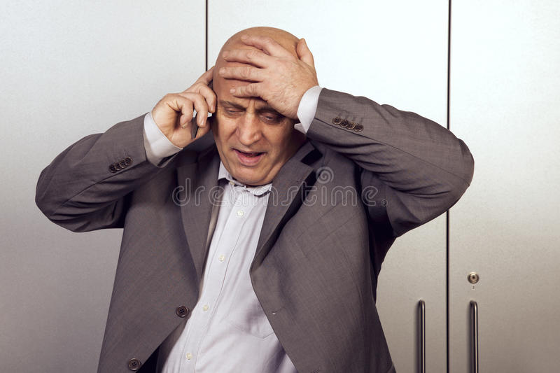Horrible messages, businessman stock images