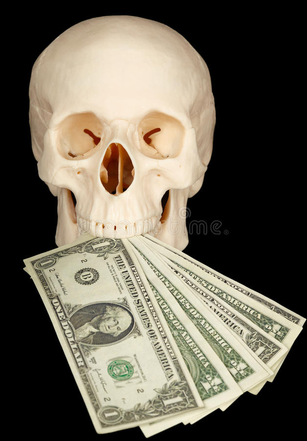 Download Horrible Skull With Bundle Of Money In Mouth Stock Photo - Image: 13348950