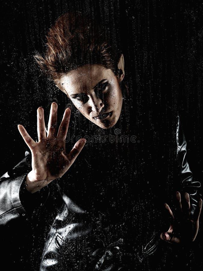 Download Horrible Vampire Woman Behind Rainy Window Stock Photo - Image: 18350318