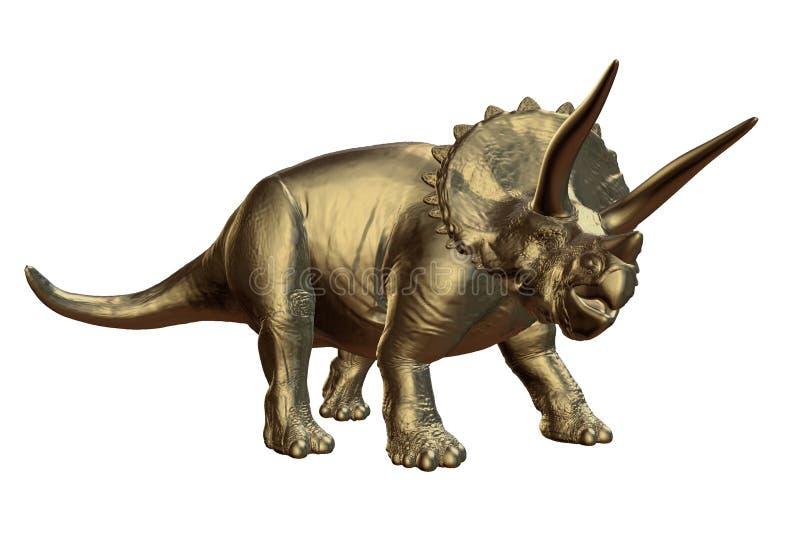 Horridus de oro del Triceratops del último período cretáceo entre hace 66 y 68 millones de años de ejemplo 3d aislado en b blanco stock de ilustración