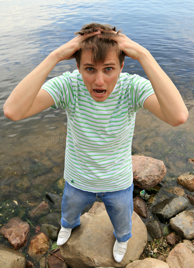 Horrified young man royalty free stock images