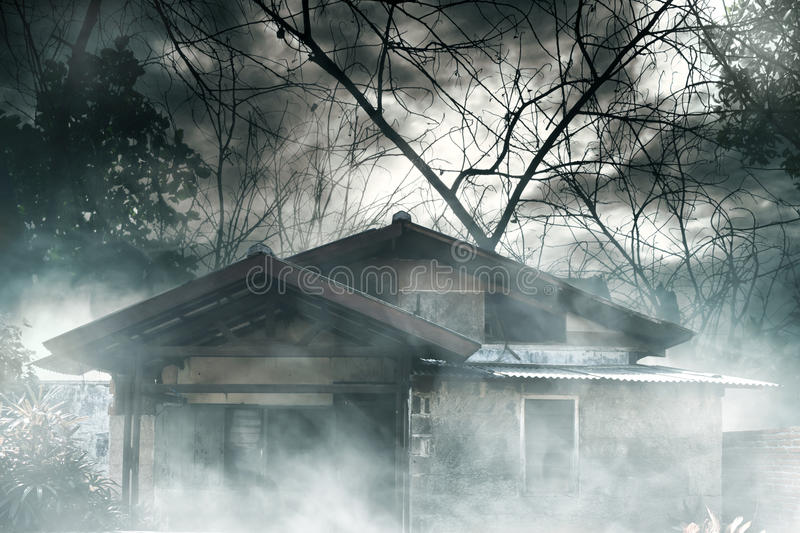 Horror background haunted house. At night royalty free stock photography