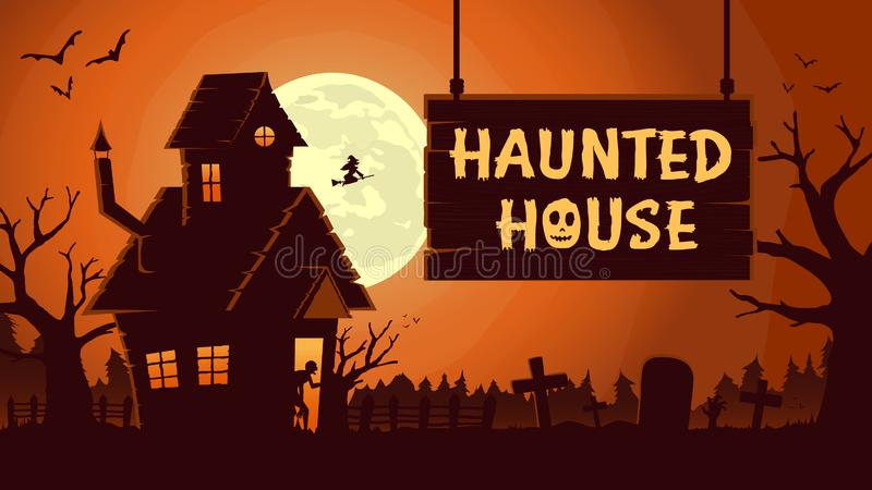 Horror background template with Haunted house at full moon night. stock photo