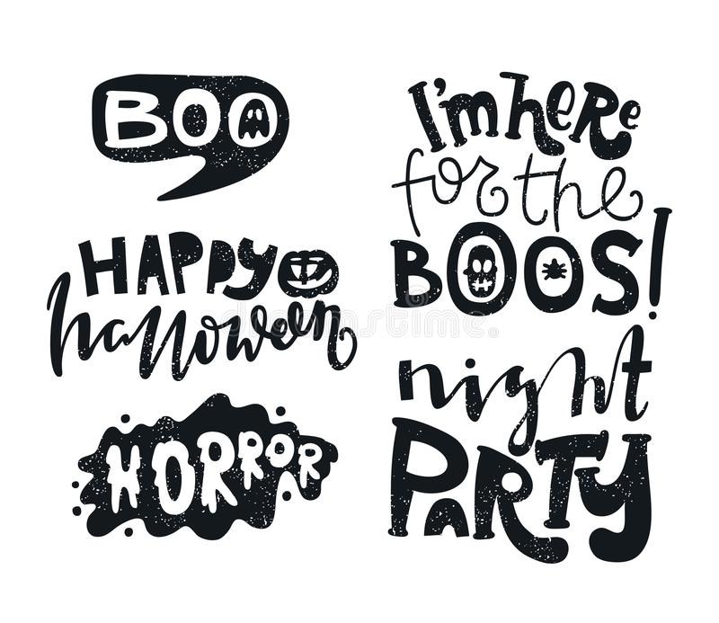 ... Postcard For Happy Halloween. Modern And Stylish Hand Drawn Lettering.  Quote. Horror. Boo. Text Banner Or Background For Halloween Party Night.