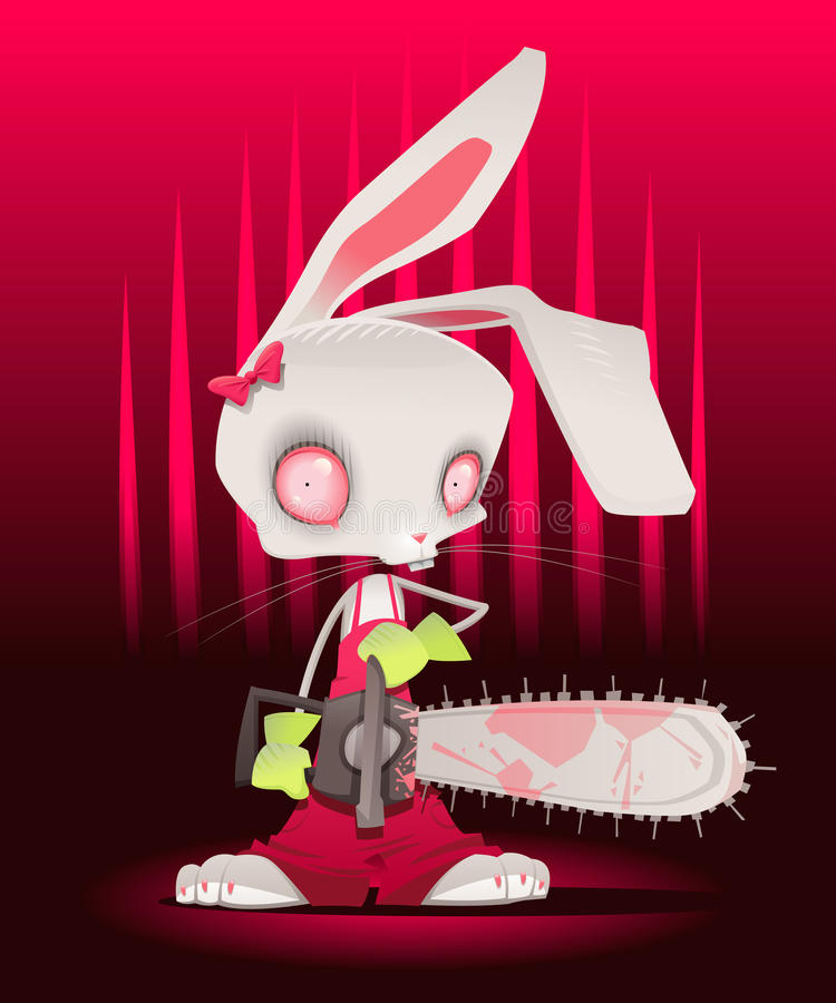 Horror Bunny With Background. Royalty Free Stock Photography