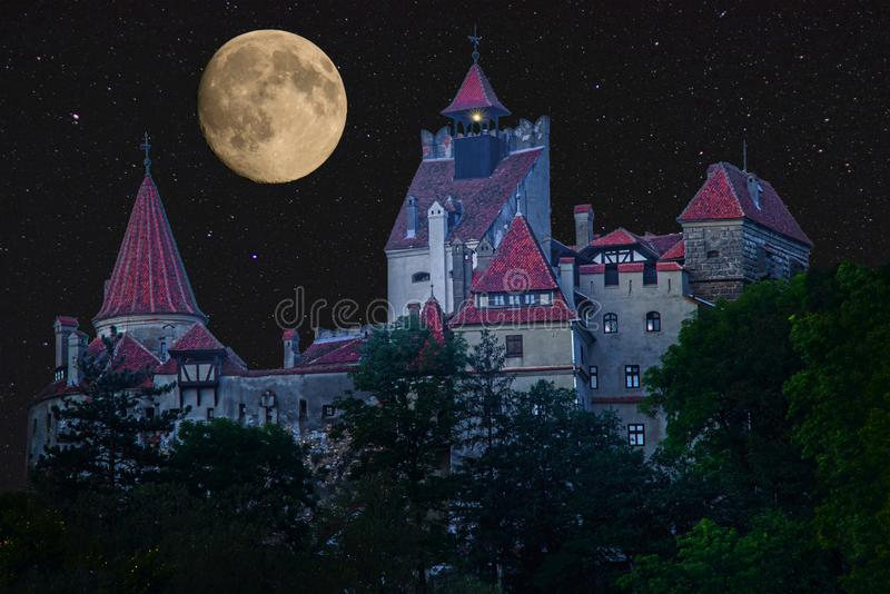 Horror Castle and full Moon stock photography