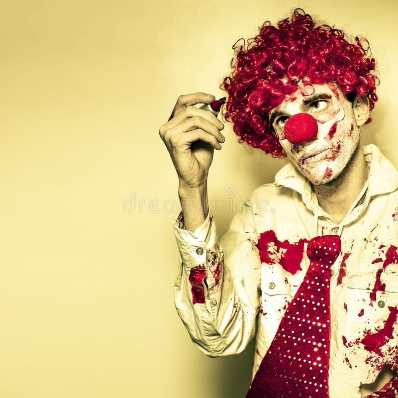 Download Horror Clown Writing Halloween Message In Blood Stock Photo - Image: 26805110