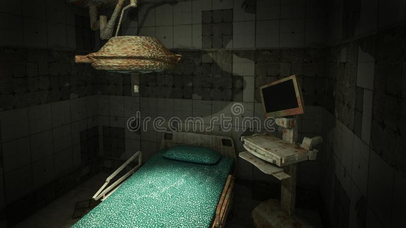 Horror and creepy abandoned operating room in the hospital .3D rendering. Horror and creepy abandoned operating room in the hospital 3D rendering stock illustration