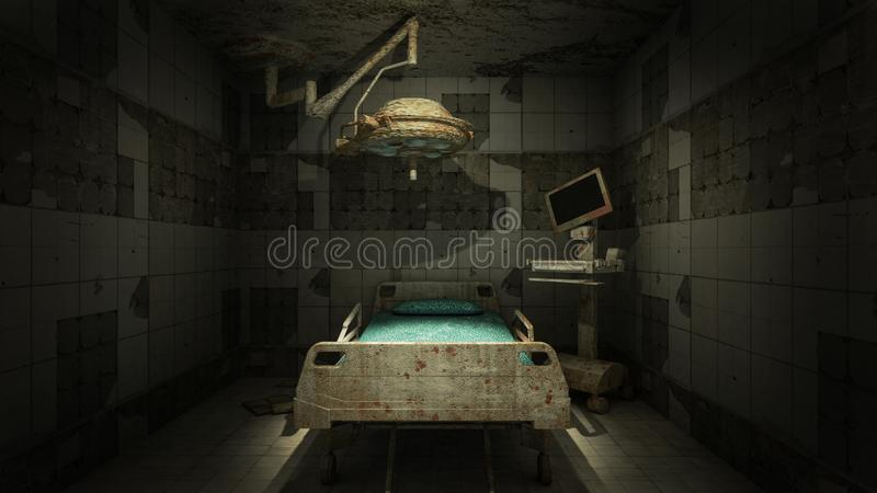 Horror and creepy abandoned operating room in the hospital .3D rendering. Horror and creepy abandoned operating room in the hospital 3D rendering royalty free illustration