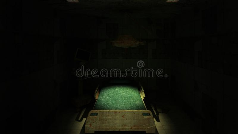 Horror and creepy abandoned operating room in the hospital .3D rendering. Horror and creepy abandoned operating room in the hospital .3D rendering vector illustration