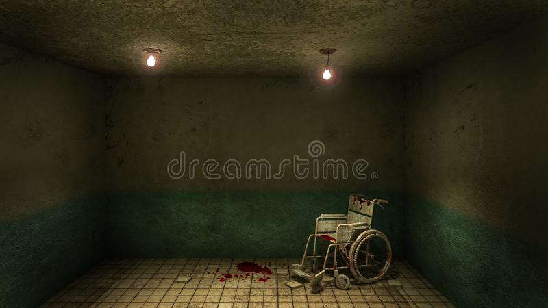 Horror and creepy front of the examination room and wheelchair in the hospital.3D rendering. Horror and creepy front of the examination room and wheelchair in vector illustration