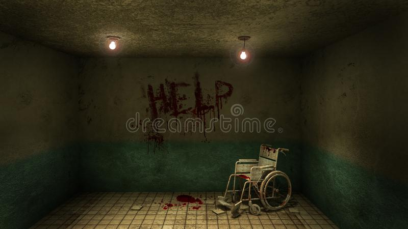 Horror and creepy front of the examination room and wheelchair in the hospital and help Blood .3D rendering. Horror and creepy front of the examination room and stock illustration