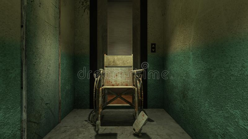 Horror and creepy lift with wheelchair in the hospital .3D rendering. Horror and creepy lift with wheelchair in the hospital vector illustration
