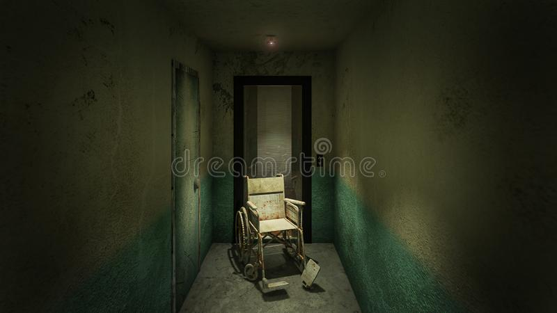 Horror and creepy lift with wheelchair in the hospital .3D rendering. Horror and creepy lift with wheelchair in the hospital royalty free illustration