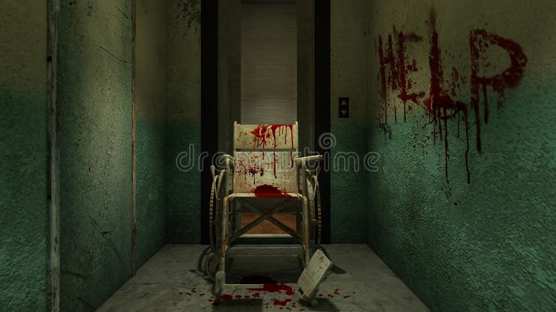 Horror and creepy lift with wheelchair in the hospital and help blood.3D rendering. Horror and creepy lift with wheelchair in the hospital and help blood 3D royalty free illustration
