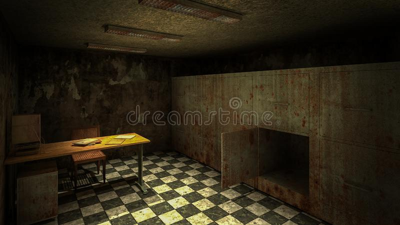 Horror and creepy mortuary in the hospital .3D rendering. Horror and creepy mortuary in the hospital 3D rendering royalty free illustration