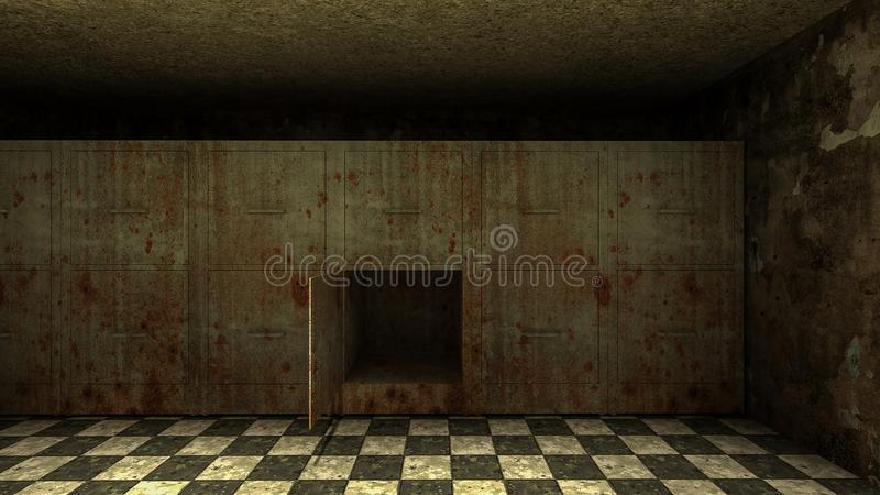 Horror and creepy mortuary in the hospital .3D rendering. Horror and creepy mortuary in the hospital 3D rendering vector illustration