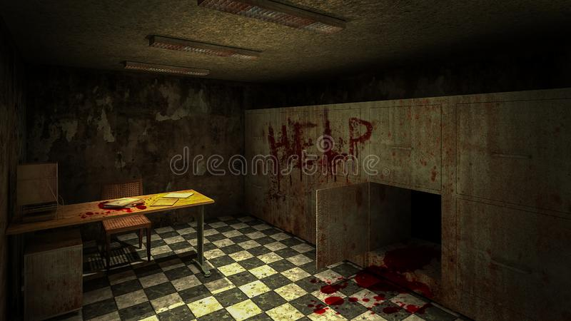 Horror and creepy mortuary in the hospital and help blood.3D rendering. Horror and creepy mortuary in the hospital and help blood 3D rendering vector illustration