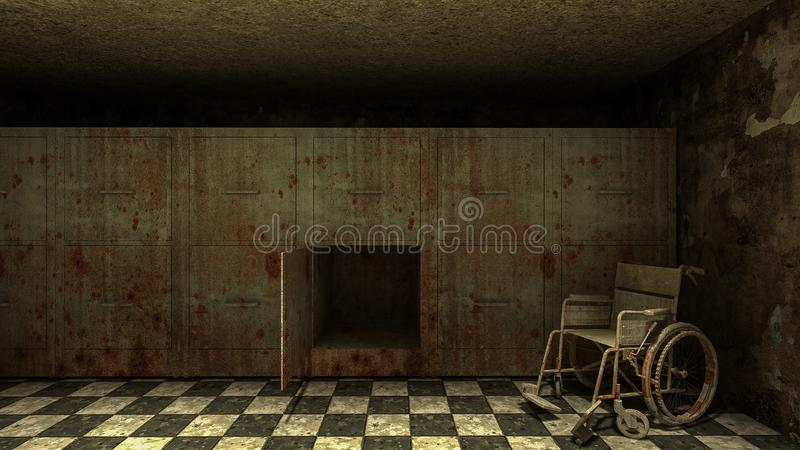 Horror and creepy mortuary with wheelchair in the hospital .3D rendering. Horror and creepy mortuary with wheelchair in the hospital 3D rendering stock illustration