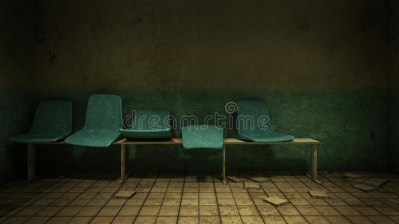 Horror and creepy seat waiting in front of the examination room in the hospital.3D rendering. Horror and creepy seat waiting in front of the examination room in royalty free illustration