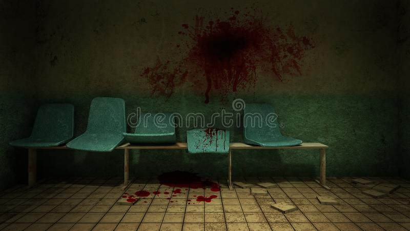 Horror and creepy seat waiting in front of the examination room in the hospital.3D rendering. Horror and creepy seat waiting in front of the examination room in stock illustration